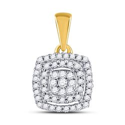 Womens Round Diamond Square Frame Cluster Pendant 1/8 Cttw 10kt Yellow Gold - REF-10F5W