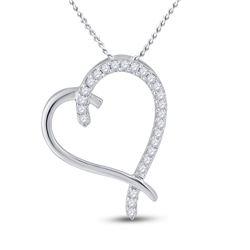 Womens Round Diamond Heart Pendant 1/6 Cttw 10kt White Gold - REF-9M5H