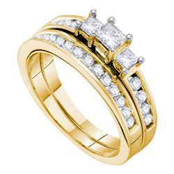 Princess Diamond 3-stone Bridal Wedding Ring Band Set 1 Cttw 14kt Yellow Gold - REF-109A5M