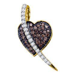 Womens Round Brown Diamond Heart Pendant 1/2 Cttw 10kt Yellow Gold - REF-18A5M