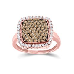 Womens Round Brown Diamond Square Cluster Ring 1 Cttw 10kt Rose Gold - REF-26N9F