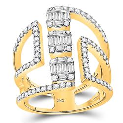 Womens Baguette Diamond Triple Cluster Fashion Ring 7/8 Cttw 14kt Yellow Gold - REF-87X5A