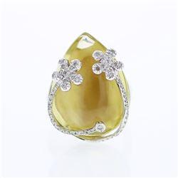 28.03 CTW Quartz & Diamond Ring 18K White Gold - REF-89F3N