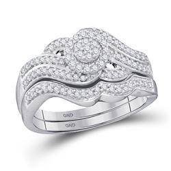 Round Diamond Cluster Bridal Wedding Ring Band Set 1/2 Cttw 10kt White Gold - REF-39R9X