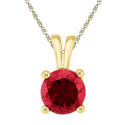 Womens Round Lab-Created Ruby Solitaire Pendant 1-1/3 Cttw 10kt Yellow Gold - REF-4A5M