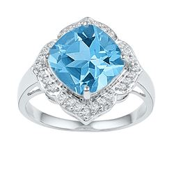 Womens Princess Lab-Created Blue Topaz Solitaire Ring 5 Cttw 10kt White Gold - REF-20K5Y
