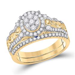 Round Diamond Bridal Wedding Ring Band Set 3/4 Cttw 14kt Yellow Gold - REF-82Y5N