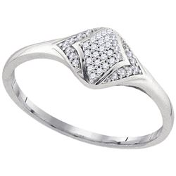 Womens Round Diamond Cluster Fashion Ring 1/10 Cttw 10kt White Gold - REF-10K5Y