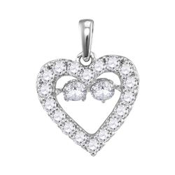 Womens Round Diamond Moving Twinkle Heart Pendant 1/2 Cttw 10kt White Gold - REF-32K5Y