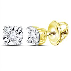 Womens Round Diamond Solitaire Illusion Earrings 1/20 Cttw 10kt Yellow Gold - REF-6R5X
