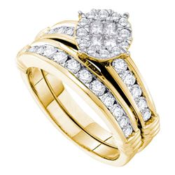 Princess Diamond Bridal Wedding Ring Band Set 7/8 Cttw 14kt Yellow Gold - REF-91N9F