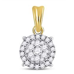 Womens Round Diamond Halo Cluster Pendant 1/2 Cttw 14kt Yellow Gold - REF-32F5W