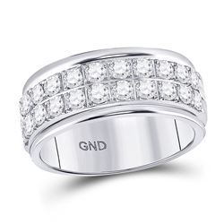 Womens Round Diamond Double Row Band Ring 1 Cttw 10kt White Gold - REF-74A9M
