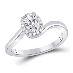 Oval Diamond Halo Bridal Wedding Engagement Ring 3/4 Cttw 14kt White Gold - REF-159M9H