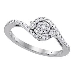 Womens Round Diamond Cluster Ring 1/8 Cttw 10kt White Gold - REF-15F5W