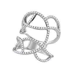 Womens Round Diamond Openwork Abstract Strand Knuckle Ring 1 Cttw 18kt White Gold - REF-146M9H