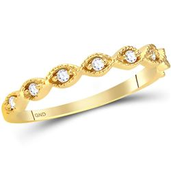 Womens Round Diamond Twist Stackable Band Ring 1/10 Cttw 14kt Yellow Gold - REF-16K9Y