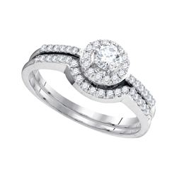 Round Diamond Bridal Wedding Ring Band Set 1/2 Cttw 10kt White Gold - REF-33K9Y