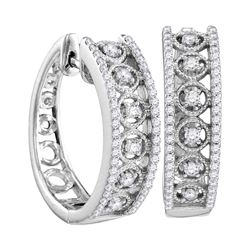 Womens Round Diamond Hoop Earrings 1/2 Cttw 10kt White Gold - REF-43X5A