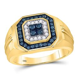Mens Round Blue Color Enhanced Diamond Square Ring 5/8 Cttw 10kt Yellow Gold - REF-35W9K