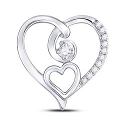 Womens Round Diamond Heart Pendant 1/10 Cttw 10kt White Gold - REF-10K5Y