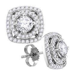 Womens Round Diamond Square Earrings 1 Cttw 10kt White Gold - REF-47R9X