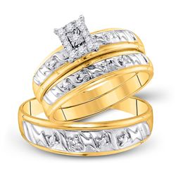 His Hers Round Diamond Solitaire Matching Wedding Set 1/10 Cttw 10kt Yellow Gold - REF-27N9F