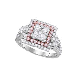 Womens Round Pink Diamond Square Cluster Ring 1 Cttw 14kt White Gold - REF-93R9X