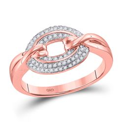 Womens Round Diamond Captured Circle Cluster Ring 1/5 Cttw 10kt Rose Gold - REF-23X5A