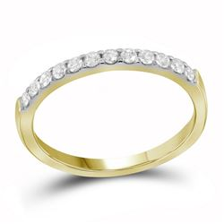 Womens Round Pave-set Diamond Single Row Wedding Band 1/4 Cttw 14kt Yellow Gold - REF-21R5X