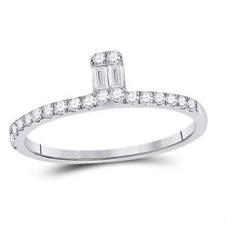 Womens Baguette Diamond Band Ring 1/4 Cttw 14kt White Gold - REF-21M5H