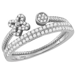 Womens Round Diamond Flower Bisected Stackable Band Ring 1/5 Cttw 10kt White Gold - REF-26H9R
