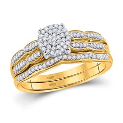 Round Diamond Cluster Bridal Wedding Ring Band Set 1/4 Cttw 10kt Yellow Gold - REF-27H5R