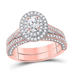 Oval Diamond Bridal Wedding Ring Band Set 1-5/8 Cttw 14kt Rose Gold - REF-228H9R