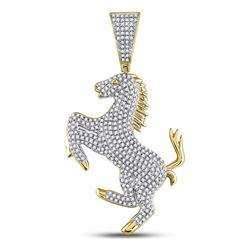 Mens Round Diamond Pony Horse Charm Pendant 1 Cttw 10kt Yellow Gold - REF-63M9H