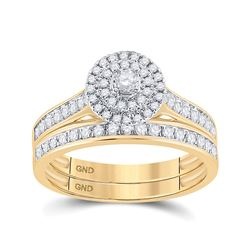 Round Diamond Halo Bridal Wedding Ring Band Set 1/2 Cttw 10kt Yellow Gold - REF-34Y9N