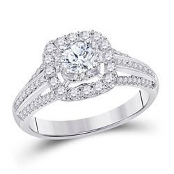 Round Diamond Halo Bridal Wedding Engagement Ring 1 Cttw 14kt White Gold - REF-126W9K