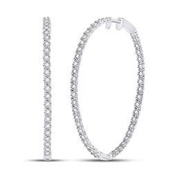 Womens Round Diamond Inside-Outside Hoop Earrings 1-1/4 Cttw 14kt White Gold - REF-118X9A