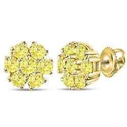 Womens Round Color Enhanced Diamond Flower Cluster Earrings 1/2 Cttw 10kt Yellow Gold - REF-24A9M