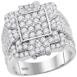 Mens Round Diamond Square Cluster Ring 3 Cttw 10kt White Gold - REF-164X5A