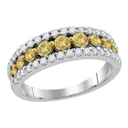 Womens Round Yellow Diamond Band Ring 1 Cttw 14kt White Gold - REF-76W5K