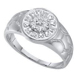 Mens Round Diamond Cluster Nugget Ring 1/8 Cttw 14kt White Gold - REF-18M9H