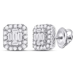 Womens Baguette Diamond Square Cluster Earrings 1/2 Cttw 14kt White Gold - REF-38W9K