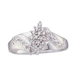 Womens Round Diamond Cluster Ring 1/10 Cttw 10kt White Gold - REF-18W9K