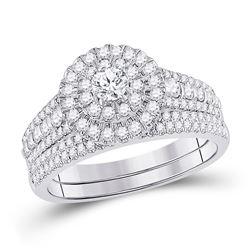 Round Diamond Bridal Wedding Ring Band Set 1 Cttw 10kt White Gold - REF-74Y9N