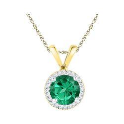 Womens Lab-Created Emerald Solitaire & Diamond Halo Pendant 7/8 Cttw 10k Yellow Gold - REF-8W5K
