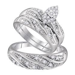 His Hers Round Diamond Cluster Matching Wedding Set 1/3 Cttw 10kt White Gold - REF-35K5Y
