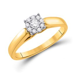 Round Diamond Solitaire Bridal Wedding Engagement Ring 1/5 Cttw 10kt Yellow Gold - REF-21K5Y