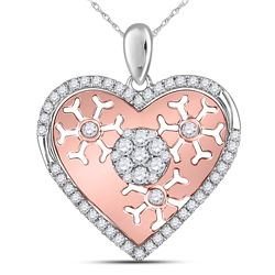 Womens Round Diamond Cluster Heart Pendant 1/2 Cttw 14kt Two-tone Gold - REF-47X9A