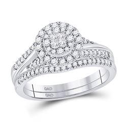 Princess Diamond Bridal Wedding Ring Band Set 1/2 Cttw 14kt White Gold - REF-54X5A